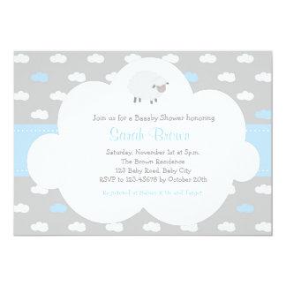 Schafe mit Wolken-Einladung (graues Blau) 12,7 X 17,8 Cm Einladungskarte