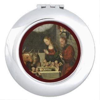 Schäfer, die Baby Jesus durch Cranach verehren Taschenspiegel