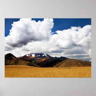 Schäfer und seine Menge in den peruanischen Anden Poster