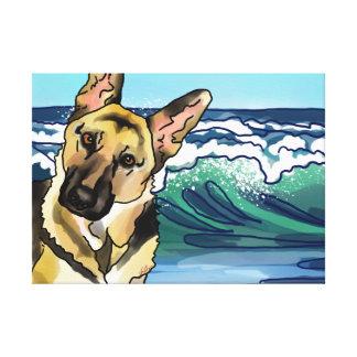 Schäferhund am Strand Leinwanddruck