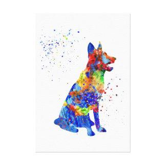 Schäferhund, Aquarell Schäferhund Leinwanddruck