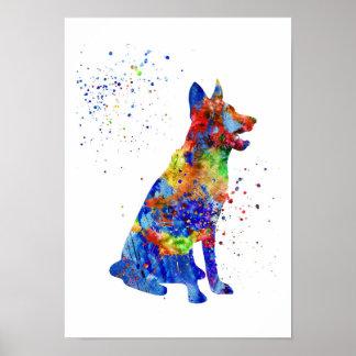 Schäferhund, Aquarell Schäferhund Poster