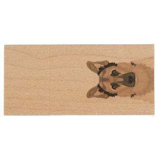Schäferhund-Cartoon Holz USB Stick