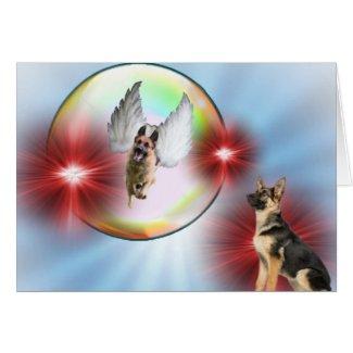 Schäferhund-Engels-Fliegen Grußkarte