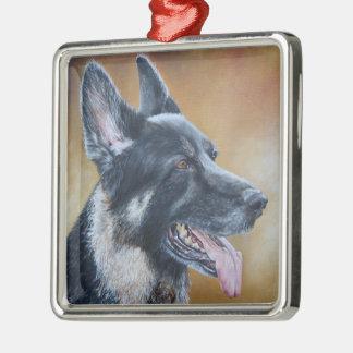 Schäferhund-Hund, der Weihnachtsverzierung malt Silbernes Ornament