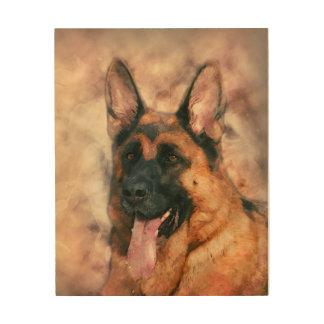 Schäferhund-Hund - GSD Aquarellmalerei Holzleinwand