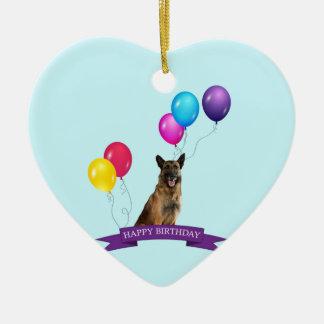 Schäferhund-Hundealles Gute zum Geburtstag Keramik Ornament