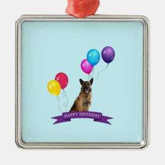 Schäferhund-Hundealles Gute zum Geburtstag Silbernes Ornament