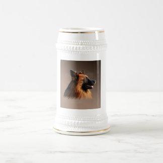 Schäferhund-HundeAquarell-Kunst-Porträt Bierglas