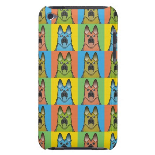 Schäferhund-HundeCartoon Pop-Kunst Barely There iPod Cover