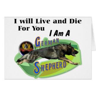 """Schäferhund """"ich lebe und die """" karte"""