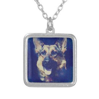 Schäferhund K9 Halskette Mit Quadratischem Anhänger