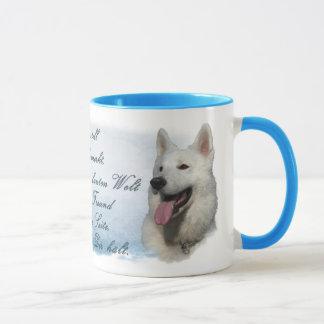 Schäferhund - Köpfe-weiss, blau Tasse