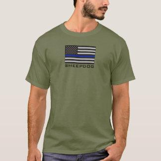 SCHÄFERHUND mit DÜNNER BLUE LINE-AMERIKANISCHER T-Shirt