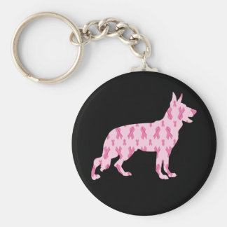 Schäferhund-Rosa-Krebs-Bänder Schlüsselanhänger