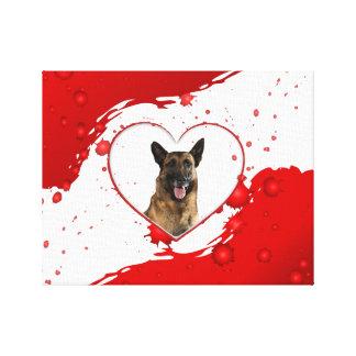 Schäferhund-Rot-Herz Leinwanddruck