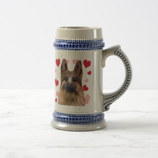 Schäferhund-Valentinsgruß Bierglas