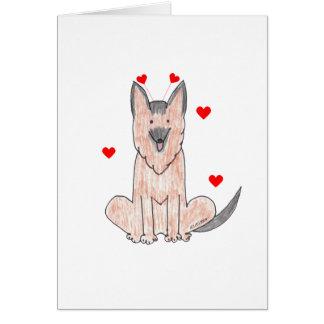 Schäferhund-Valentinsgruß-Ohren Karte