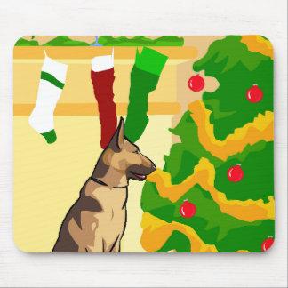 Schäferhund-Weihnachten Mousepad
