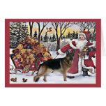 Schäferhund-Weihnachtskarten-Sankt-Bären Karte