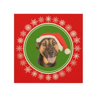 Schäferhund-WeihnachtsWeihnachtsmannmütze-lustiger Holzwanddeko