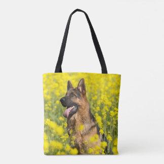 Schäferhunde auf dem Gebiet der gelben Tasche