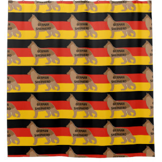 Schäferhundnamen-Silhouette auf Flaggenleber Duschvorhang