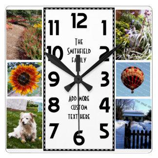 Schaffen Sie Ihre eigene Foto-Collage des Deko-6 Quadratische Wanduhr