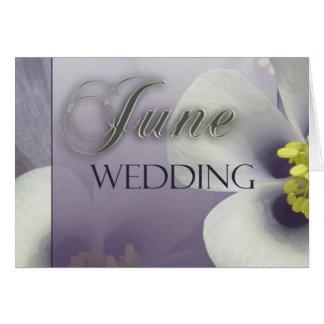 Schaffen Sie Ihre eigene lila Juni-Hochzeit Karte