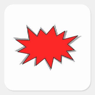 Schaffen Sie Ihre eigenen SuperheldOnomatopoeias! Quadratischer Aufkleber