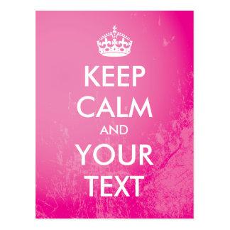 """Schaffen Sie Ihre Selbst """"behält Ruhe"""" (rosa Grung Postkarten"""