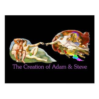 Schaffung von Adam und von Steve Postkarte