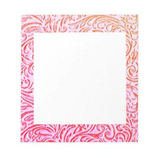 Schafgarbe rosa Vintage BlumenScrollwork Grafik Notiz Block