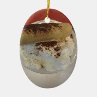 Schale heiße Schokolade mit Schlagsahnespitze Ovales Keramik Ornament