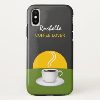 Schalen-grüne graue Café-Morgen-Kaffee-Liebhaber iPhone X Hülle