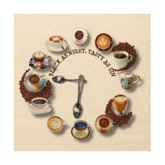 Schalen schwarzer Kaffee mit Bohnen als Uhr Holzwanddeko