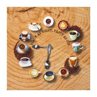 Schalen schwarzer Kaffee mit Bohnen als Uhr Leinwanddruck