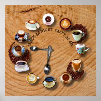 Schalen schwarzer Kaffee mit Bohnen als Uhr Poster