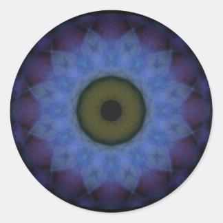 Schandfleck-violetter blauer böser Blick Runder Aufkleber