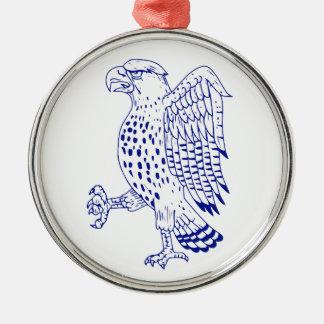 Scharf-shinned Falke-marschierendes Zeichnen Silbernes Ornament