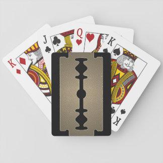 Scharfe Abdeckung der Rasierklinge Gold Spielkarten