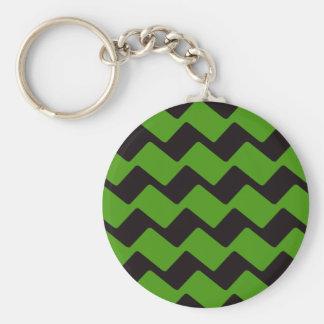 Scharfe schwarze und grüne gewellte Sparren Schlüsselanhänger