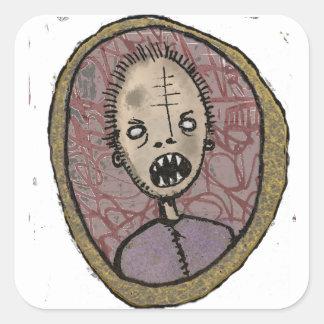 Scharfe Zähne des Porträts Quadratischer Aufkleber