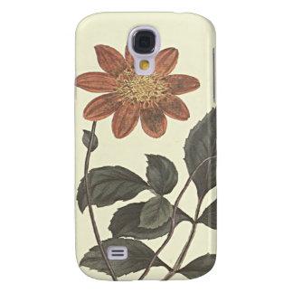 Scharlachrot blühte Dahlie-botanische Illustration Galaxy S4 Hülle