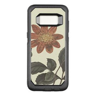 Scharlachrot blühte Dahlie-botanische Illustration OtterBox Commuter Samsung Galaxy S8 Hülle