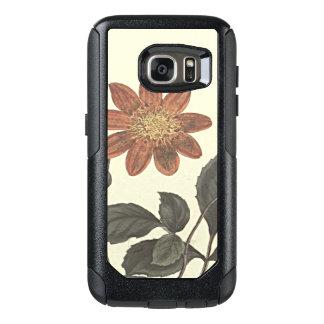 Scharlachrot blühte Dahlie-botanische Illustration OtterBox Samsung Galaxy S7 Hülle