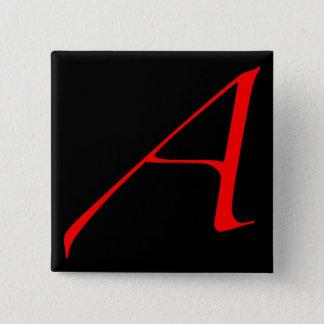 Scharlachrot Buchstabe A (für Atheisten) Quadratischer Button 5,1 Cm