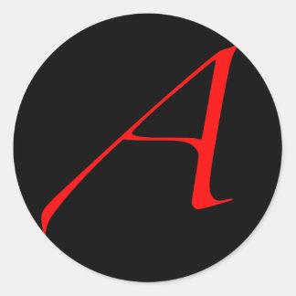 Scharlachrot Buchstabe A (für Atheisten) Runder Aufkleber