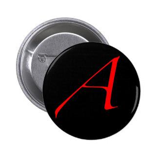 Scharlachrot Buchstabe A (für Atheisten) Runder Button 5,7 Cm