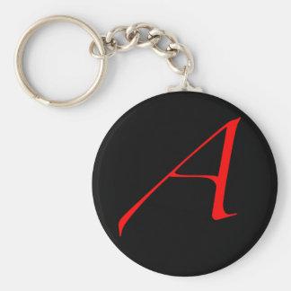 Scharlachrot Buchstabe A (für Atheisten) Standard Runder Schlüsselanhänger